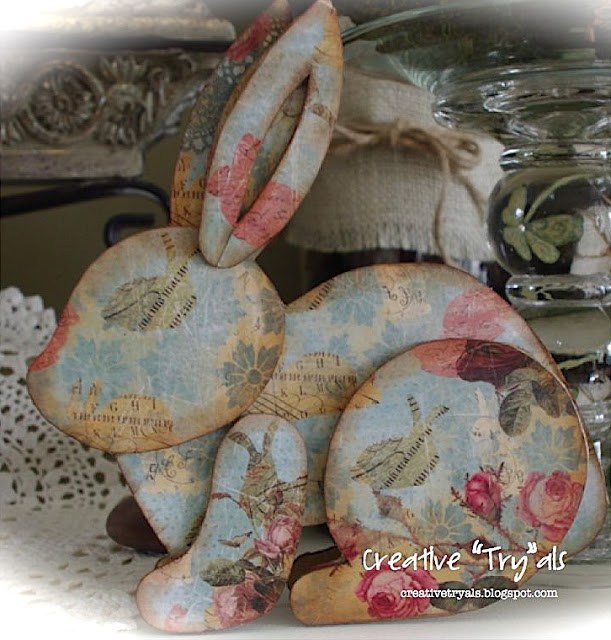 Recycled Decoupage Easter Bunny Craft